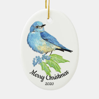 Custom Dated Christmas Watercolor Bluebird Bird Christmas Ornament