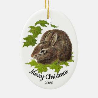 Custom Dated Christmas Watercolor Bunny Rabbit Christmas Ornament