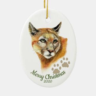 Custom Dated Christmas Watercolor Cougar Animal Christmas Ornament