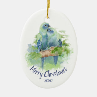 Custom Dated Christmas Watercolor Cuddling Parrots Christmas Ornament