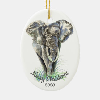 Custom Dated Christmas Watercolor Elephant Christmas Ornament