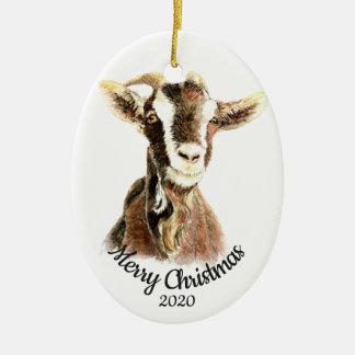 Custom Dated Christmas Watercolor Goat Farm Animal Christmas Ornament