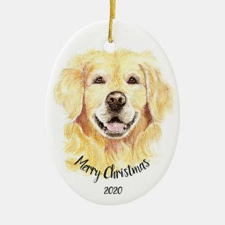 Custom Dated Christmas Watercolor Golden Retriever Christmas Ornament