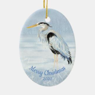 Custom Dated Christmas Watercolor Great Blue Heron Christmas Ornament