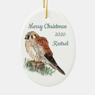 Custom Dated Christmas Watercolor Kestrel, Falcon Christmas Ornament