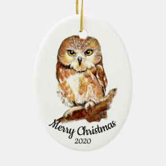 Custom Dated Christmas  Watercolor Owl Bird Christmas Ornament
