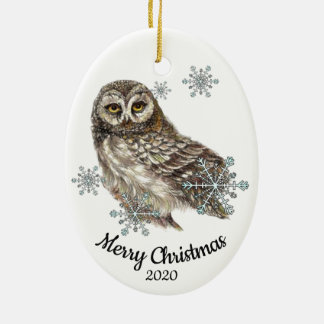Custom Dated Christmas Watercolor Owl Bird Snow Christmas Ornament