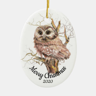 Custom Dated Christmas Watercolor Owl in Tree Christmas Ornament