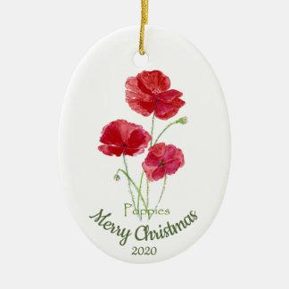 Custom Dated Christmas Watercolor Poppy Flower Christmas Ornament