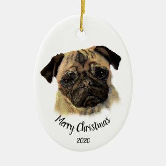 Custom Dated Christmas Watercolor Pug Dog Pet Christmas Ornament