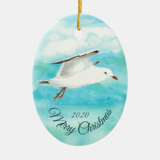 Custom Dated Christmas Watercolor Seagull Bird Christmas Ornament