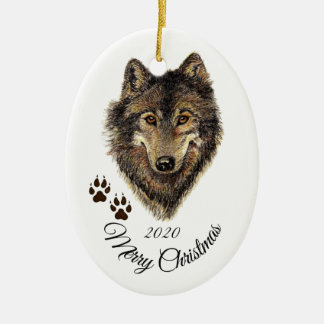 Custom Dated Christmas Watercolor Wolf Head Animal Christmas Ornament