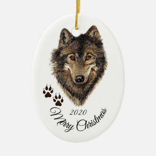 Custom Dated Christmas Watercolor Wolf Head Animal Christmas