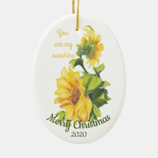 Custom Dated Christmas You are my Sunshine Quote Christmas Ornament