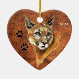 Custom, Dated Cougar, Puma, Mountain Lion Animal Christmas Ornament