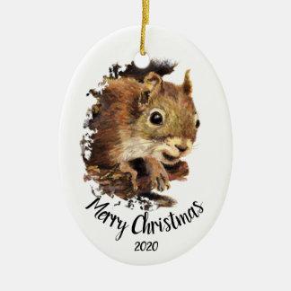 Custom Dated Cute Squirrel Peeking Merry Christmas Christmas Ornament