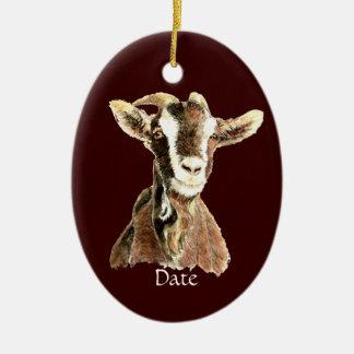 Custom Dated Cute Watercolor Goat Farm Animal Christmas Ornament