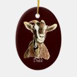 Custom Dated Cute Watercolor Goat Farm Animal Christmas Tree Ornament