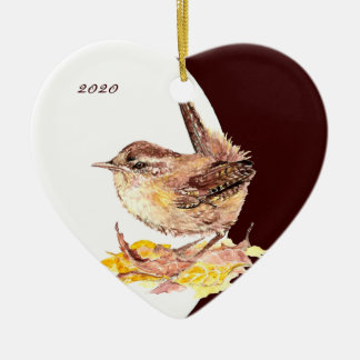 Custom, Dated Cute Watercolor Wren Bird Christmas Ornament