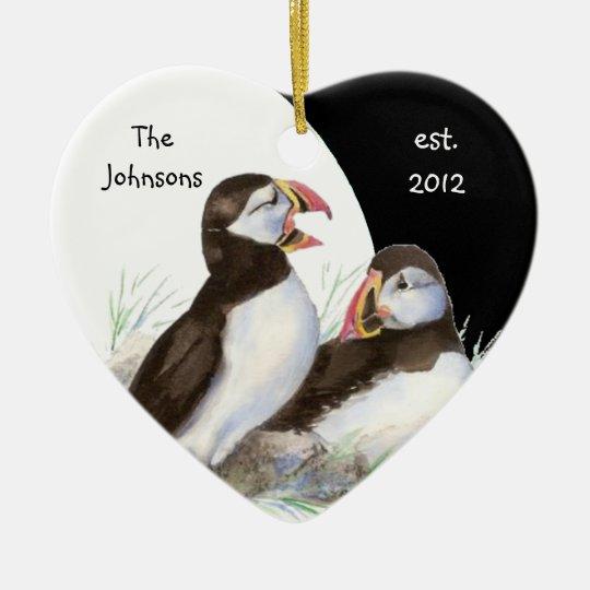 Custom Dated Family Monogram & Puffins Birds Christmas