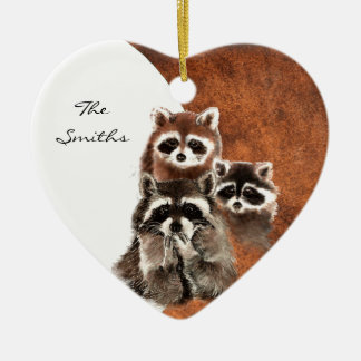 Custom Dated Family Monogram, Raccoon Animal Christmas Ornament