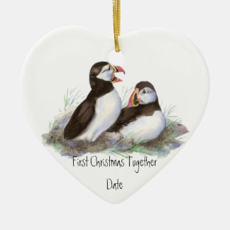Custom Dated First Christmas Together Puffins Bird Christmas Ornament