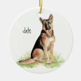 Custom Dated German Shepherd, Dog Pet, Animal Round Ceramic Decoration