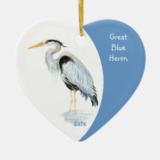 Custom Dated Great Blue Heron Watercolor Bird Christmas Ornament