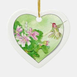Custom Dated Hummingbird Watercolor Bird, Animal Ceramic Heart Decoration