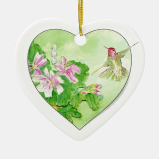 Custom Dated Hummingbird Watercolor Bird, Animal Christmas Ornament