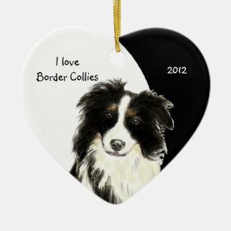 Custom Dated I love Border Collies dog, pet animal Ceramic Heart Decoration