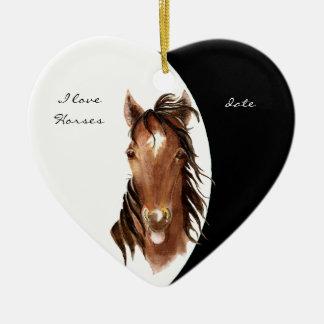 Custom Dated I love Horses Watercolor Horse Ceramic Heart Decoration