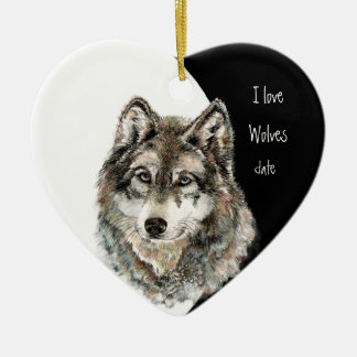 Custom Dated I love Wolves, Watercolor Animal Ceramic Heart Decoration