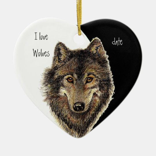 Custom Dated I love Wolves, Watercolor Animal Christmas