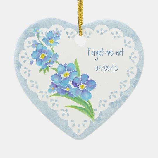 Custom Dated Name Forget-me-not Watercolor Flower Christmas