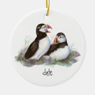 Custom Dated  Puffins Bird Christmas Ornament