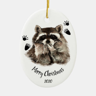 Custom Dated Raccoon Blowing Kisses, Love Animals Christmas Ornament