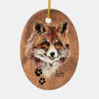 Custom Dated Red Fox Tracks, Watercolor Animal Art Christmas Ornament
