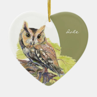 Custom Dated Screech Owl Watercolor Bird Christmas Ornament