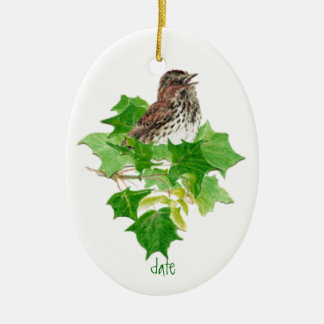 Custom Dated Song Sparrow Watercolor Bird Nature Christmas Ornament