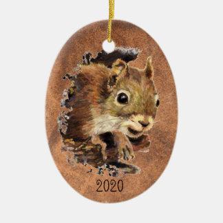 Custom Dated Squirrel Animal Watercolor Animal Art Christmas Ornament