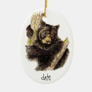 Custom Dated Watercolor Black Bear Animal Christmas Ornament