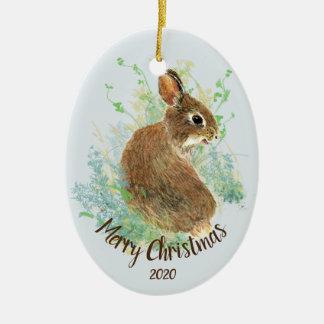Custom Dated Watercolor Bunny Rabbit Animal Art Christmas Ornament