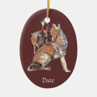 Custom Dated Watercolor Howling Coyotes Animal Christmas Ornament