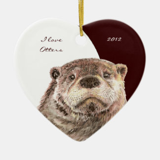 """Custom Dated Watercolor """"I love Otters"""" animal Christmas Ornament"""