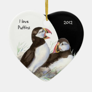 Custom Dated Watercolor I love Puffins Birds Christmas Ornament