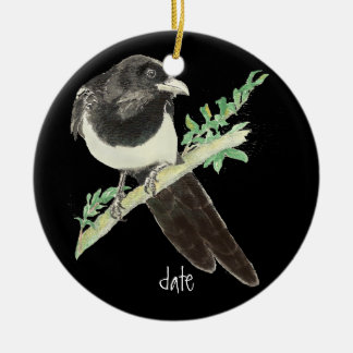 Custom Dated Watercolor Magpie, Bird Animal Christmas Ornament