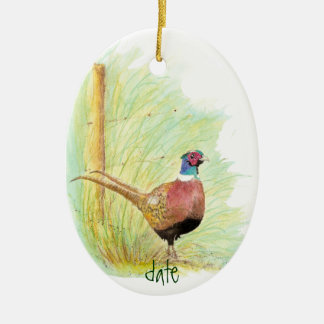 Custom Dated Watercolor Pheasant, Bird Animal Christmas Ornament