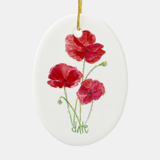 Custom Dated, Watercolor Red Poppy Flower Christmas Ornament