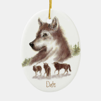 Custom Dated, Watercolor Wolves & Wolf Pack Christmas Ornament